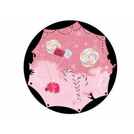 Disque sucre décor gourmandise comestible pour la déco de vos gâteaux. Se pose idéalement sur un gâteau recouvert de pâte à sucre ou de...
