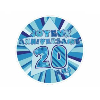 Décor sur sucre 20 ans Bleu