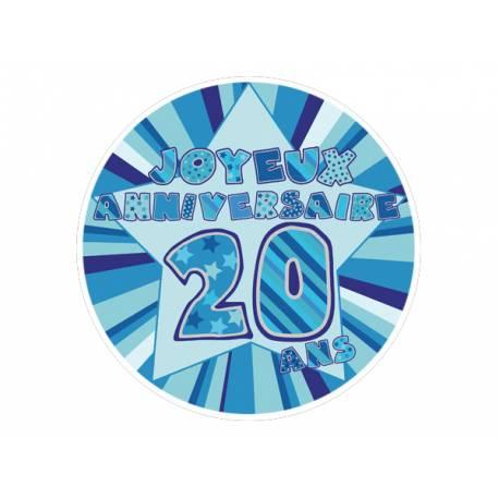 Disque sucre décor 20 ans bleu comestible pour la déco de vos gâteaux. Se pose idéalement sur un gâteau recouvert de pâte à sucre ou de...