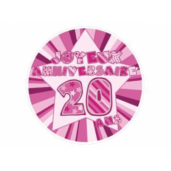 Décor sur sucre 20 ans Rose