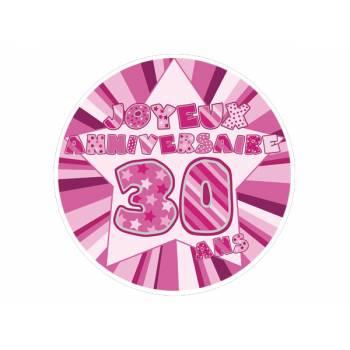 Décor sur sucre 30 ans Rose