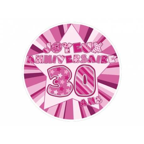 Disque sucre décor 30 ans rose comestible pour la déco de vos gâteaux. Se pose idéalement sur un gâteau recouvert de pâte à sucre ou de...