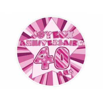 Décor sur sucre 40 ans Rose