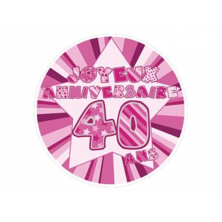 Disque sucre décor 40 ans rose comestible pour la déco de vos gâteaux. Se pose idéalement sur un gâteau recouvert de pâte à sucre ou de...