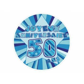 Décor sur sucre 50 ans Bleu