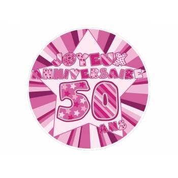 Décor sur sucre 50 ans Rose