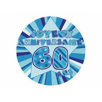 Décor sur sucre 60 ans Bleu
