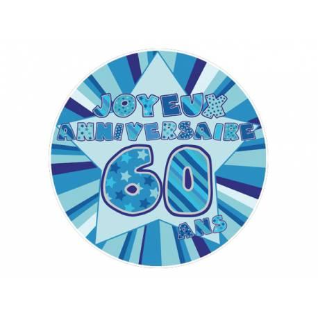 Disque sucre décor 60 ans bleu comestible pour la déco de vos gâteaux. Se pose idéalement sur un gâteau recouvert de pâte à sucre ou de...