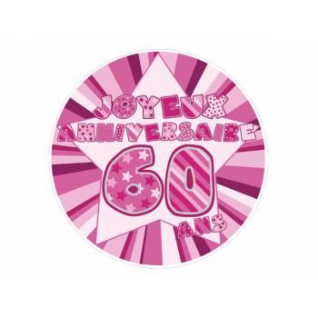 Décor sur sucre 60 ans Rose