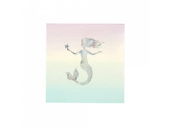 Serviettes en papier Sirène irisé