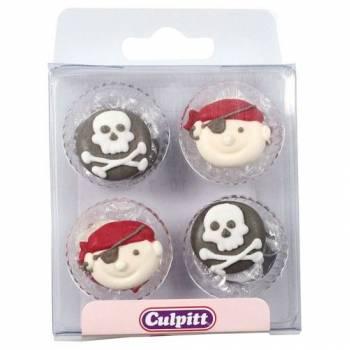 Lot de 12 mini décors en sucre Tête de Pirate