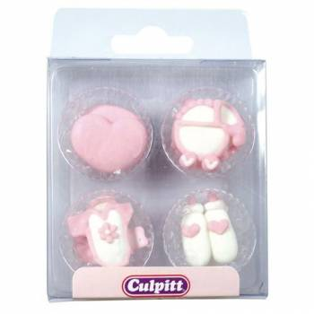12 Mini décors en sucre Layette rose