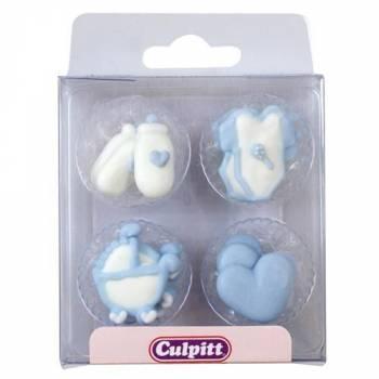 12 Mini décors en sucre Layette bleu