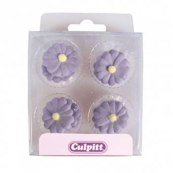 12 Mini décors en sucre Daisies lilas