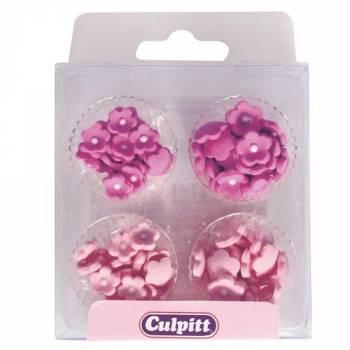 100 Mini fleurs rose/parme en sucre