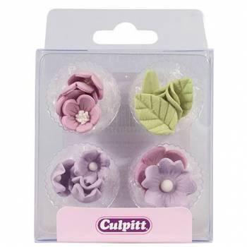 16 Mini décors en sucre fleurs lilas et feuilles