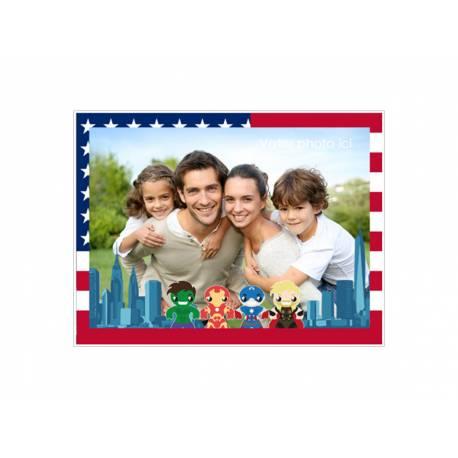 Feuille de sucre à personnaliser décor US Héros au format A4 pour décorer vos gâteaux d'anniversaires rectangle .Taille A4 USA ( 21...