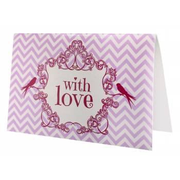 6 Cartes menu vintage Love rose