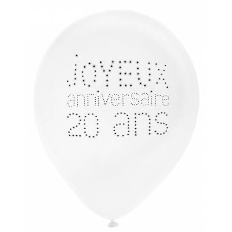 8 ballons blanc en latex impression Joyeux anniversaire 20 ans Ø 23 cm