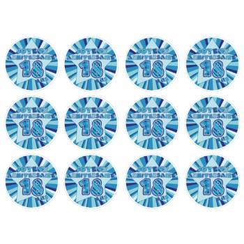 12 Mini décors sur sucre 18 ans Bleu