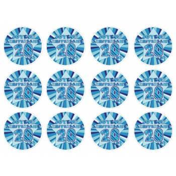 12 Mini décors sur sucre 20 ans Bleu