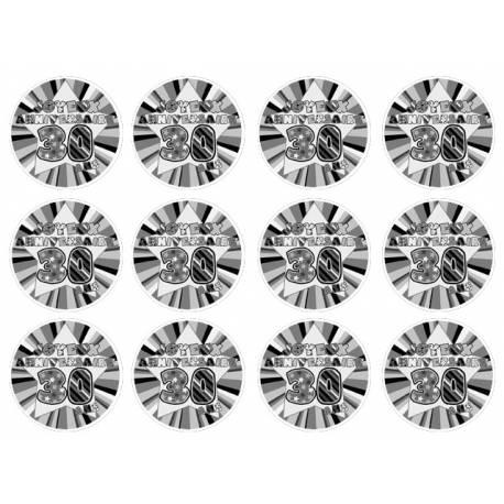 12 mini disques sucre décor 30 ans Noir pour la décoration de vos petits gâteaux et cupcakes d'anniversaire. Ces mini disques ne...