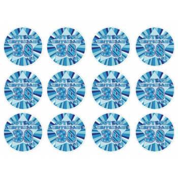 12 Mini décors sur sucre 30 ans Bleu