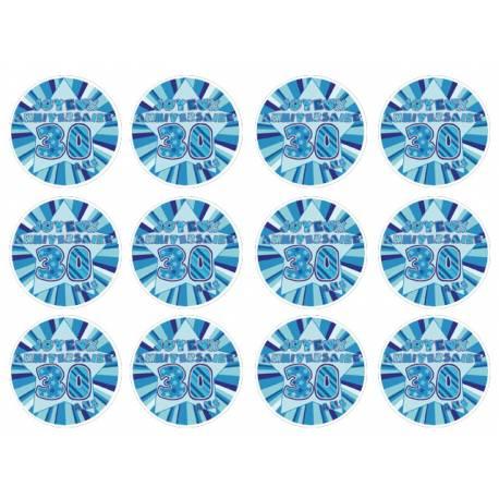 12 mini disques sucre décor 30 ans Bleu pour la décoration de vos petits gâteaux et cupcakes d'anniversaire. Ces mini disques ne...