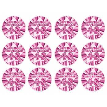 12 Mini décors sur sucre 40 ans Rose