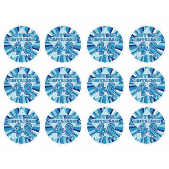 12 Mini décors sur sucre 40 ans Bleu