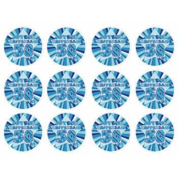 12 Mini décors sur sucre 50 ans Bleu
