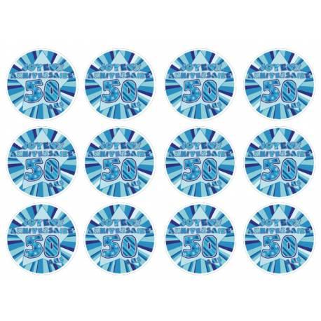12 mini disques sucre décor 50 ans Bleu pour la décoration de vos petits gâteaux et cupcakes d'anniversaire. Ces mini disques ne...