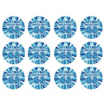 12 Mini décors sur sucre 60 ans Bleu