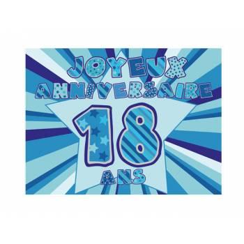 Décor sur sucre 18 ans Bleu A4