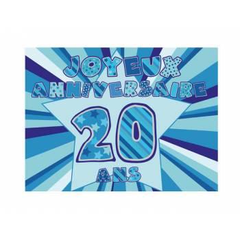 Décor sur sucre 20 ans Bleu A4