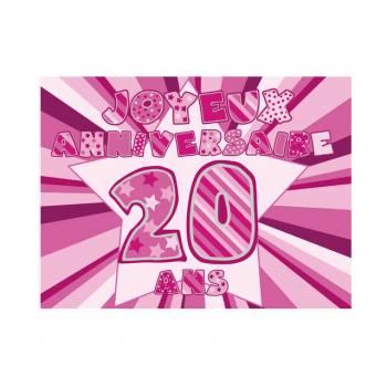 Décor sur sucre 20 ans Rose A4