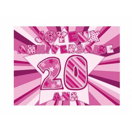 Photo comestible rectangle 20 ans Rose pour la décoration de votre gâteau d'anniversaire rectangle (format A4). Simple à utiliser, et il...