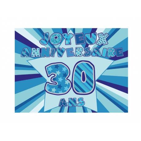 Photo comestible rectangle 30 ans Bleu pour la décoration de votre gâteau d'anniversaire rectangle (format A4). Simple à utiliser, et il...