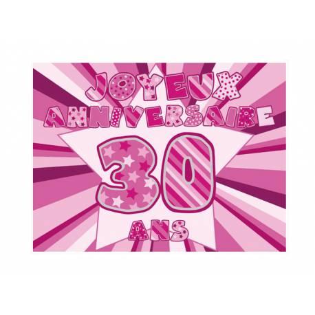 Photo comestible rectangle 30 ans Rose pour la décoration de votre gâteau d'anniversaire rectangle (format A4). Simple à utiliser, et il...