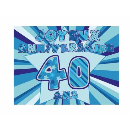 Photo comestible rectangle 40 ans Bleu pour la décoration de votre gâteau d'anniversaire rectangle (format A4). Simple à utiliser, et il...