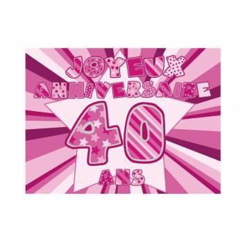 Décor sur sucre 40 ans Rose A4