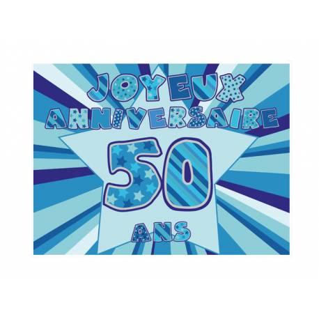 Photo comestible rectangle 50 ans Bleu pour la décoration de votre gâteau d'anniversaire rectangle (format A4). Simple à utiliser, et il...