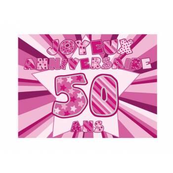 Décor sur sucre 50 ans Rose A4