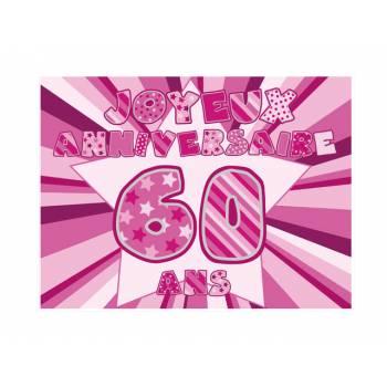 Décor sur sucre 60 ans Rose A4