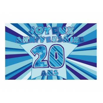 Décor sur sucre 20 ans Bleu A3