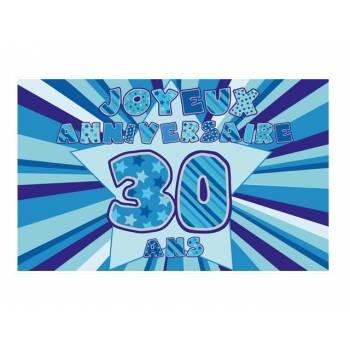 Décor sur sucre 30 ans Bleu A3
