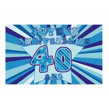 Décor sur sucre 40 ans Bleu A3