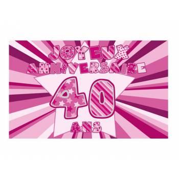 Décor sur sucre 40 ans Rose A3