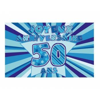 Décor sur sucre 50 ans Bleu A3