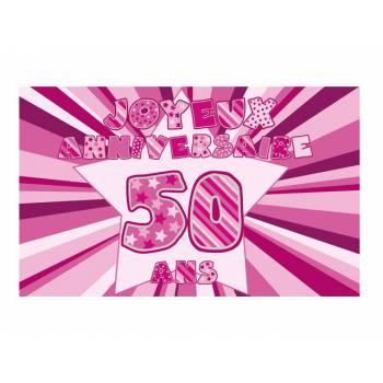 Décor sur sucre 50 ans Rose A3